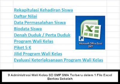 9 Administrasi Wali Kelas SD SMP SMA Terbaru dalam 1 File Excel Berkas Sekolah