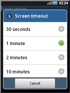 screen time out option