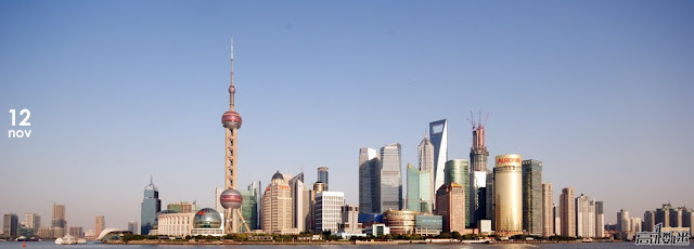 Photo of Shanghai skyline with the Shanghai Tower under construction