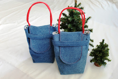 reusable Christmas gift bags small vintage fabric upcycled denim