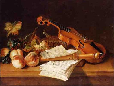 Jean-Baptiste Oudry -  Still life with violin and recorder, 1741
