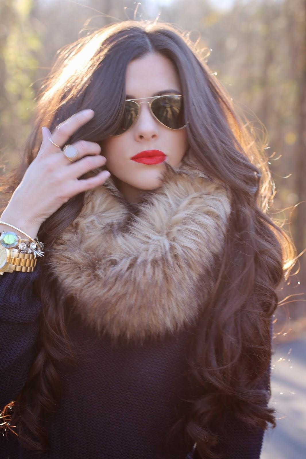 hair extensions, bellami hair, michael kors watch gold, fur snood, gold michael kors watch, tory burch, tory burch boots, tory burch purse, kiernan riding boot, rayban aviators, fashion blog, style blog, winter 2014 trends, stila cosmetics, stila fiery, stila beso