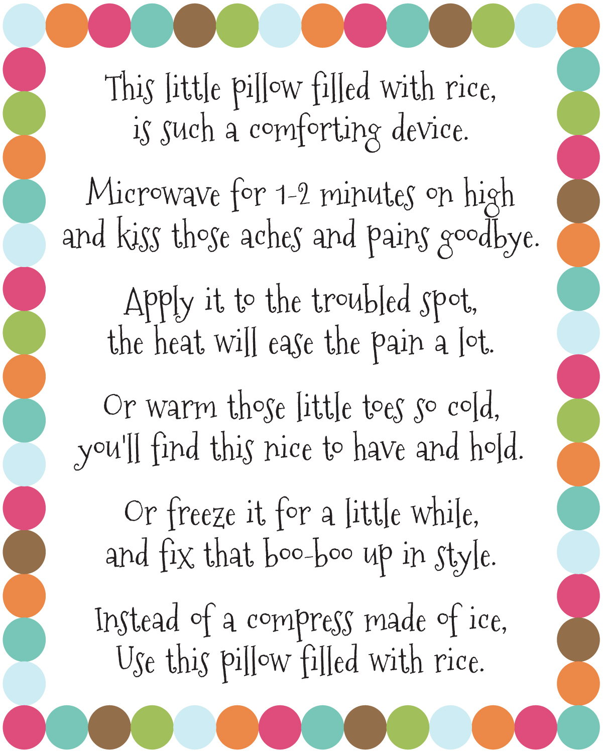 DIY Rice Bag Warmers Poem Printable at artsyfartsymama.com #printable ...