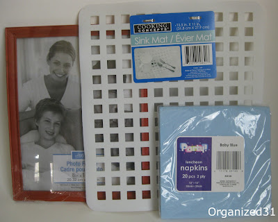 picture frame, white grid mats and blue paper napkins