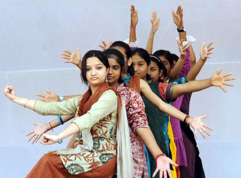 "Artistes participated in the final rehearsal of ""Bihar Gaurav Gaan"" dance at Bharatiya Nritya Kala Mandir in Patna on March 20, 2012."
