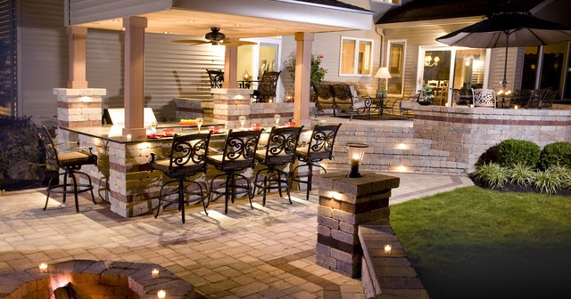 Patio grande con cocina exterior patios y jardines Cocina exterior