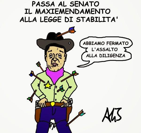 Renzi, senato, legge stabilità, maxiemendamento, satira, vignetta