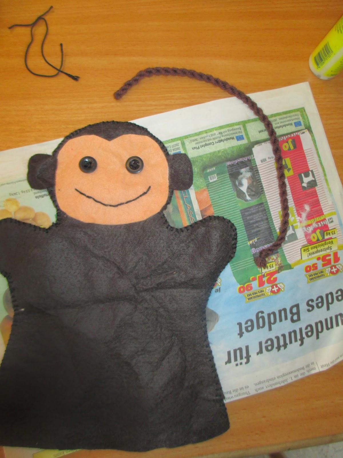 kostenloses Schnittmuster um Handpuppe Affe zu nähen