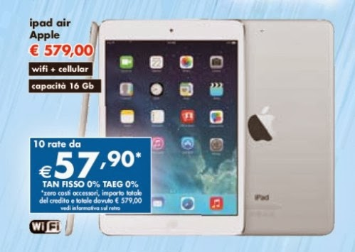 Tasso zero e sconto di 20 euro sul prezzo di listino l'ultima offerta Panorama sul tablet Apple iPad Air 4G