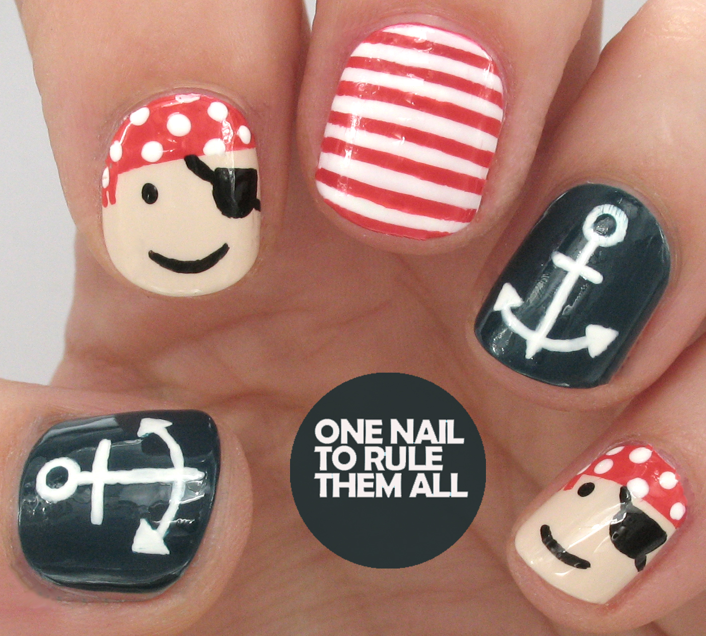 One Nail To Rule Them All: Tutorial Tuesday: Pirate Nautical Nail Art for  Divine Caroline - One Nail To Rule Them All: Tutorial Tuesday: Pirate Nautical Nail
