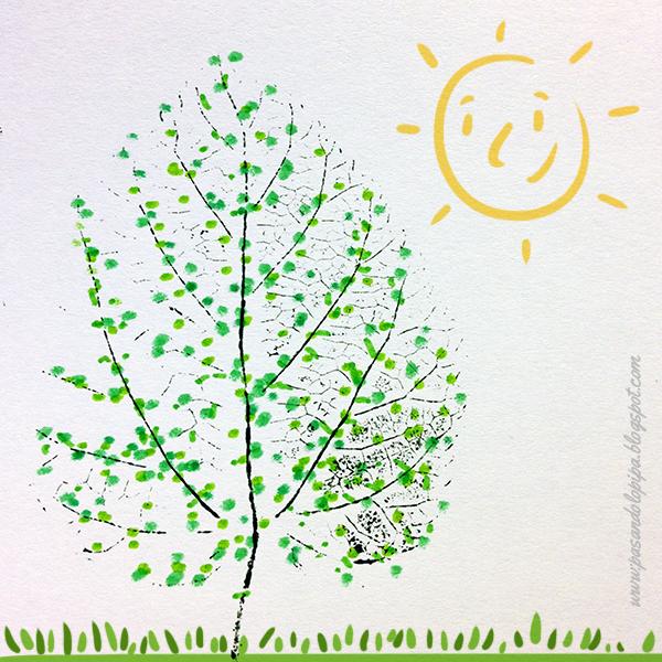 Dibujo de árbol estampando hojas