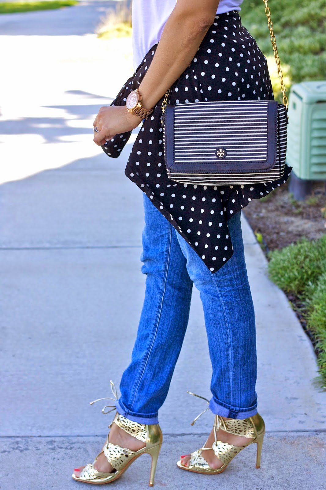 stripes and polka dots, tory burch striped purse, black and white with gold outfit, mixed prints outfit blogger, style blogger from San Diego