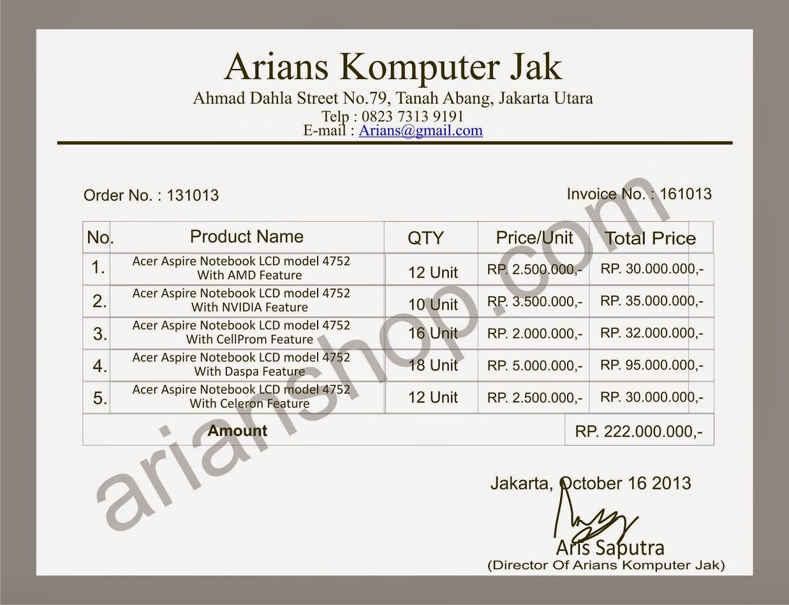 contoh invoice invoice adalah daftar atau keterangan barang barang ...