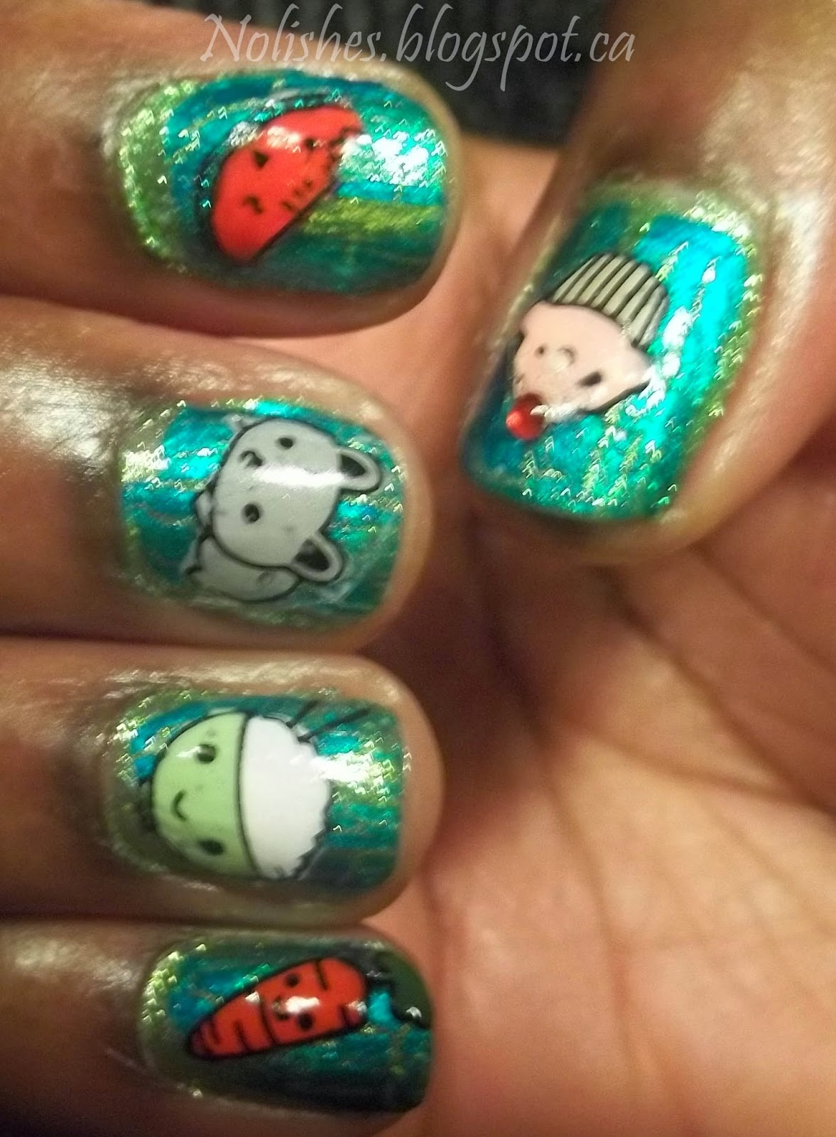 Nail stamping manicure with crackle polish base (teal crackle with chartreuse peeking through), and each finger has a different cartoon decal in a large variety of colours.