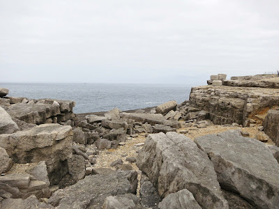 Rocks and sea, right at the end of Portland Bill in Dorset