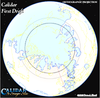 The World of Calidar, First Draft North Pole, Google Earth Orthographic Projection