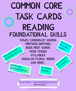 photo of Common Core Task Cards Foundational Skills PDF Teacher Park
