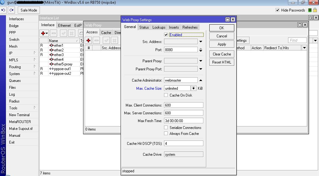 webproxy mikrotik