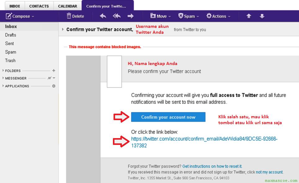 Konfirmasi email untuk membuat akun Twitter baru untuk pemula