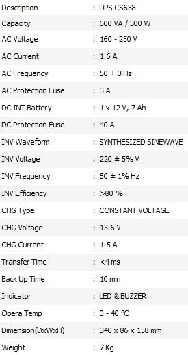 Spesifikasi UPS ICA CS 638