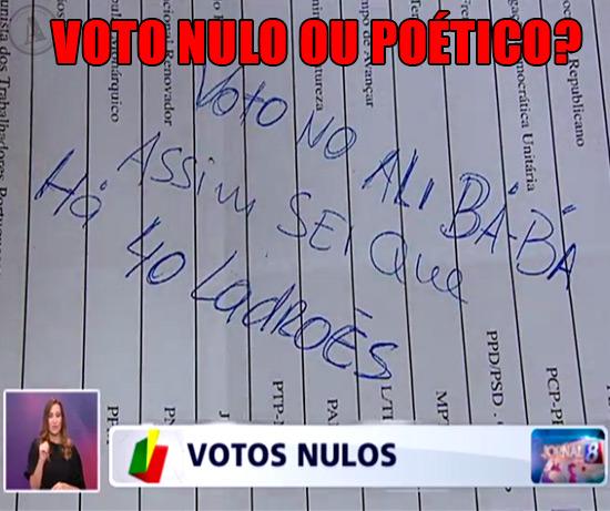 Imagem de um Voto Nulo com a Inscrição manuscrita: VOTO NO ALI BÁBÁ, assim sei que há 40 Ladrões – Voto Nulo ou Poético?