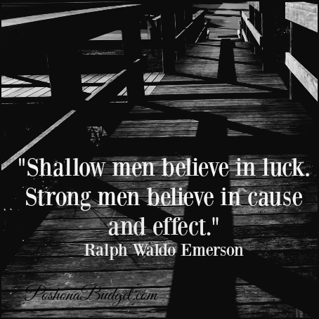 """""""Shallow men believe in luck. Strong men believe in cause and effect."""" Ralph Waldo Emerson"""