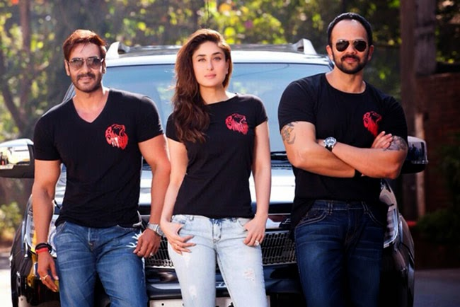 Ajay devgun Kareena kapoor Rohit shetty in singham returns bollywood movie photo