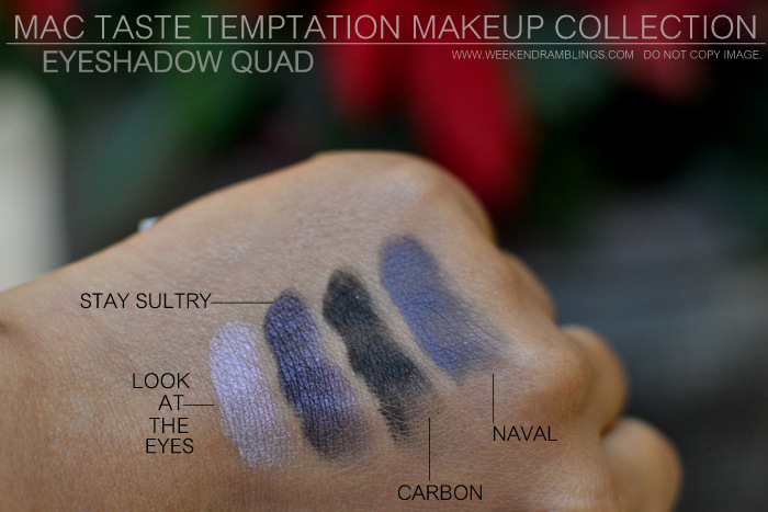MAC Taste Temptation Makeup Collection Holiday Gifts Christmas Darker Indian Skin Swatches Beauty Blog Eyeshadow Quad Look at the Eyes Stay Sultry Carbon Naval