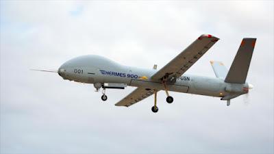 Avión no tripulado Hermes 900, fabricado por compañía israelí Elbit Systems.