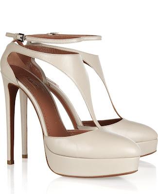 cream color platform t-strap shoes