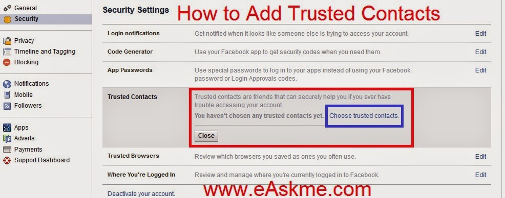 How to Add Add Trusted Contacts : eAskme