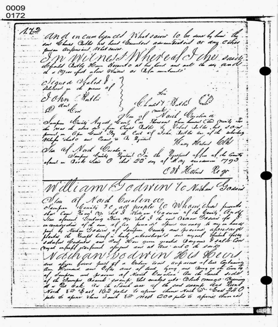 William Godwin to Nathan Godwin Sampson County Deed