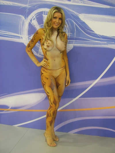 full body paint, such as wearing bikini