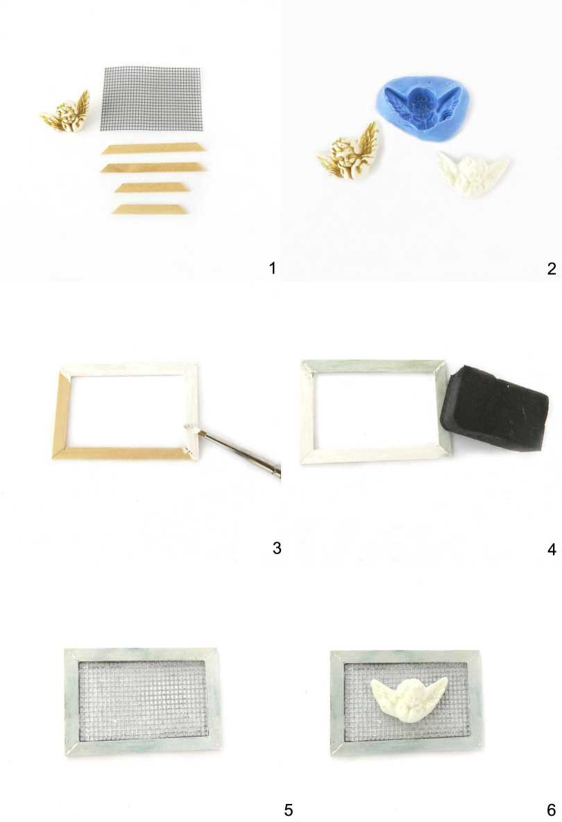 Steps for a frame with angel for dollhouses