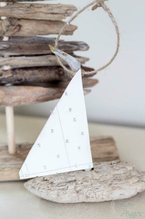A coastal country christmas home tour completely coastal for Diy driftwood sailboat