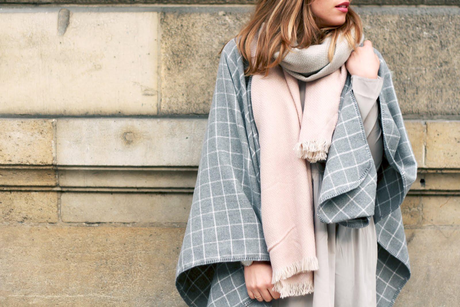 Poncho gris laine