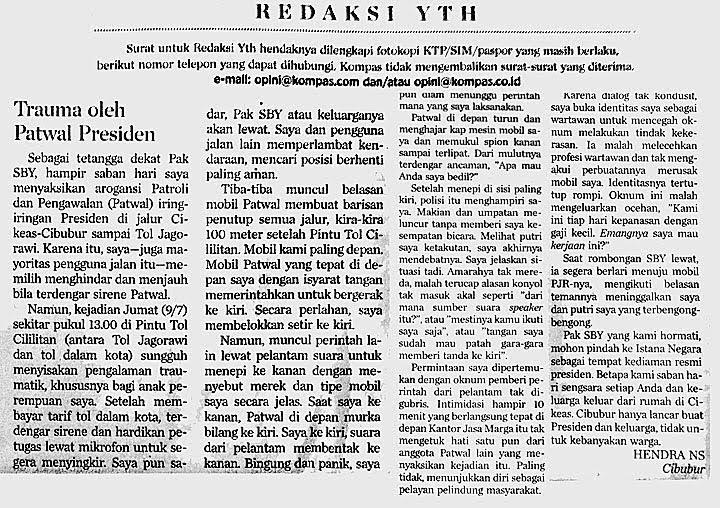 Contoh Surat Pembaca di Koran Kompas Cetak