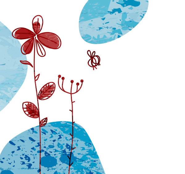 Flores en azul y rojo