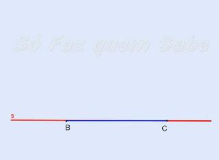 Marcando o segmento BC na reta. BC tem a medida do lado do triângulo.