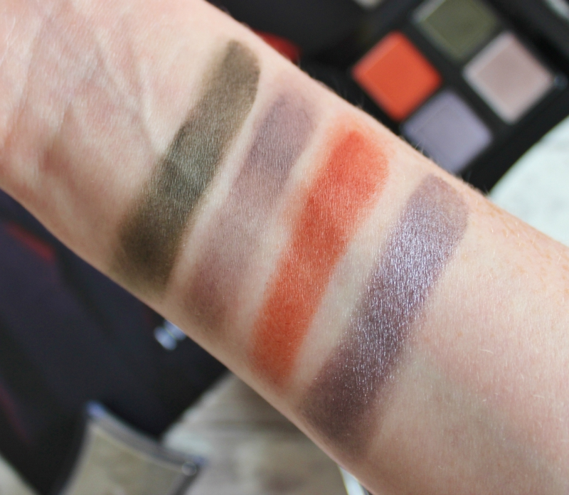 Illamasqua Earth collection Nomadic palette swatches on pale skin