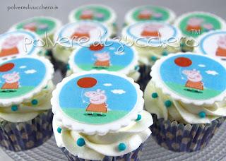 torta decorata cake design cupcakes peppa e george pasta di zucchero polvere di zucchero