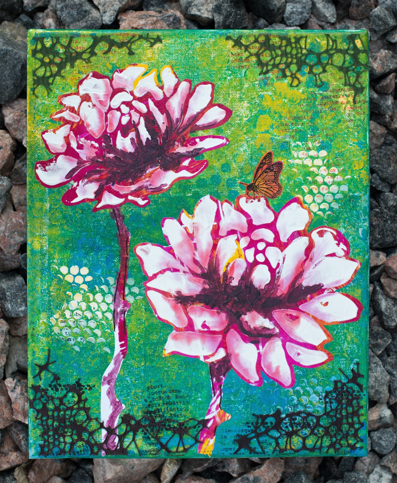 Blooming canvas. Background made with gelli plate