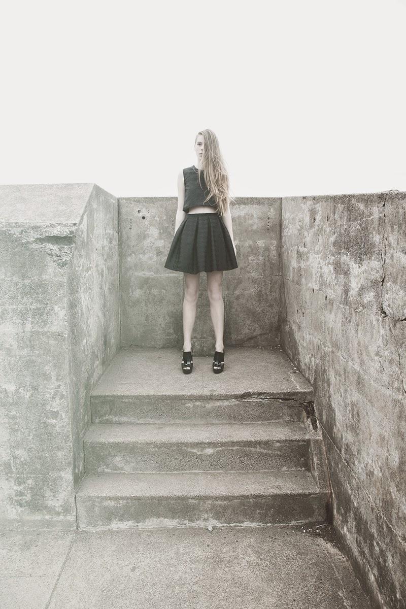 alyssa nicole, alyssa nicole signature collection, little black dress, couture, san francisco style, lookbook, pleated skirt, crop top, black pleated skirt, houndstooth skirt, alyssa nicole skirt, houndstooth print