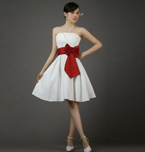 White colour strapless satin short cocktail dress with red for Wedding dress with red ribbon on waist