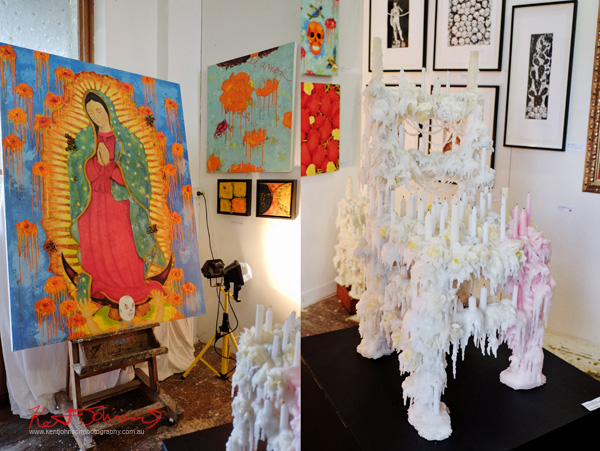 Sergio Plata - Icon painting and Altar/Chair, melted candles on chair