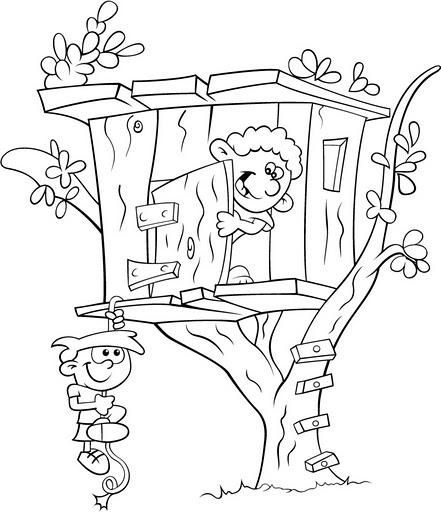 COLOREA TUS DIBUJOS: Niños jugando en casa del Árbol para colorear