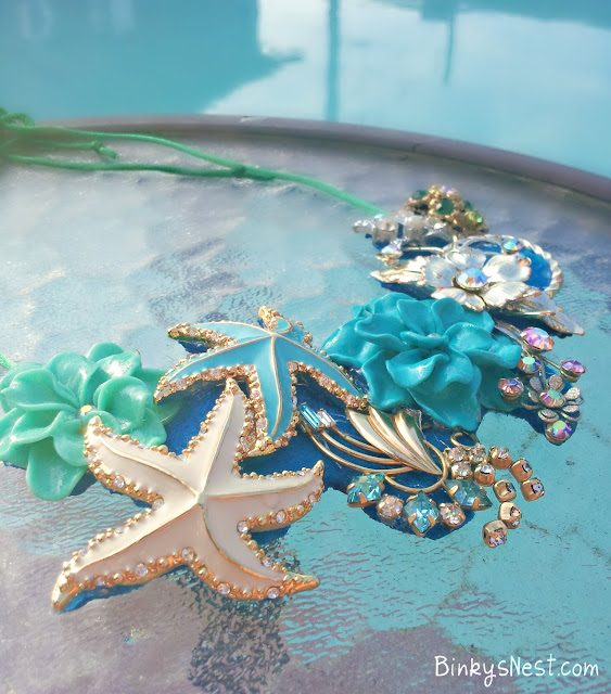 Summer and Sea Inspired Necklace made from Vintage Finds