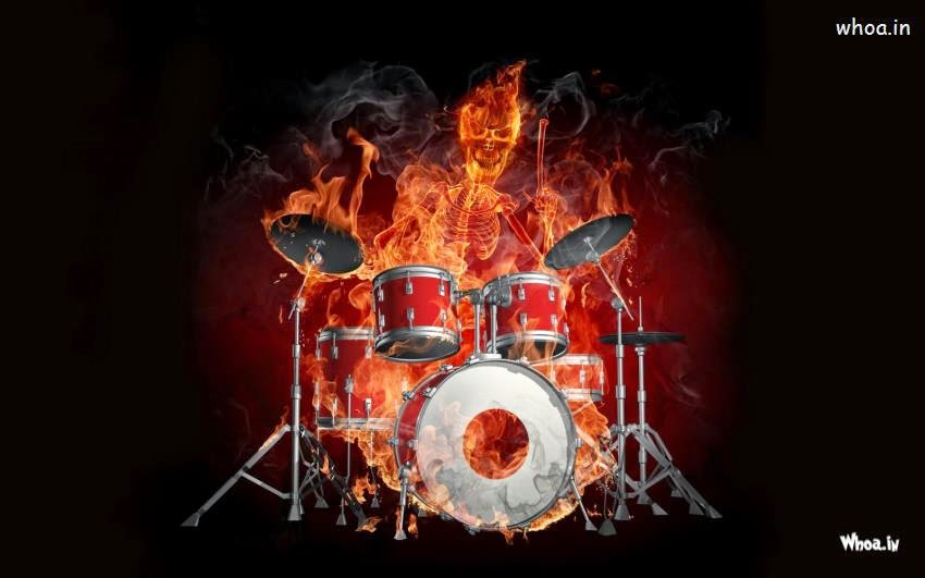 Fire Musical Instrument Dark Hd Wallpaper for desktop