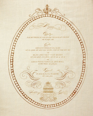 Menú impreso en servilleta para boda