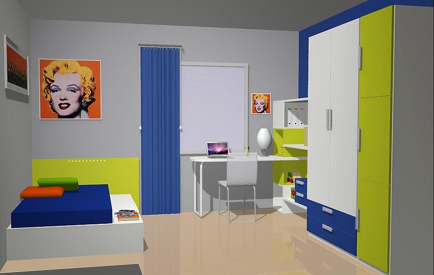 Dormitorio juvenil para varones recamara juvenil en azul - Habitacion juvenil azul ...